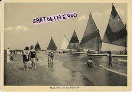 Emilia Romagna-ravenna-marina Di Ravenna Veduta Barche A Vela Spiaggia Bagnanti Vigile Animatissima Anni 40/50 - Autres Villes