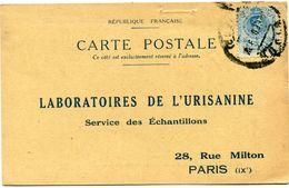 ESPAGNE CARTE POSTALE BON POUR UN FLACON ECHANTILLON D'URISANINE DEPART GIJON 20-2-23  POUR LA FRANCE - Cartas