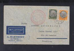 Dt. Reich Luftpostbrief 1937 Nach Brasilien Lochungen Hartrodt - Briefe U. Dokumente