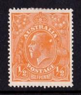 Australia 1923 King George V  1/2d Orange Single Wmk MH - ACSC 66(6)d - 1913-36 George V: Heads