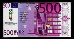 "Test Note ""JEGRO, Logo 6, Typ 3, Vertikal - Polymer"" Billet Scolaire, 500 EURO, Ca. 120 X 62 Mm, RRR, UNC - EURO"