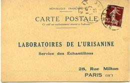 FRANCE CARTE POSTALE BON POUR UN FLACON ECHANTILLON D'URISANINE DEPART DIXMONT 5-2-23 POUR LA FRANCE - Storia Postale