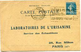FRANCE CARTE POSTALE BON POUR UN FLACON ECHANTILLON D'URISANINE DEPART PARIS 1 XI 1922 R. CROZATIER POUR LA FRANCE - Storia Postale