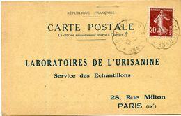 FRANCE CARTE POSTALE BON POUR UN FLACON ECHANTILLON D'URISANINE DEPART QUILLAN A CARCASSONNE 6-2-23 POUR LA FRANCE - Storia Postale