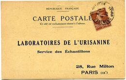 FRANCE CARTE POSTALE BON POUR UN FLACON ECHANTILLON D'URISANINE DEPART PERPIGNAN 6-?-23 POUR LA FRANCE - Storia Postale