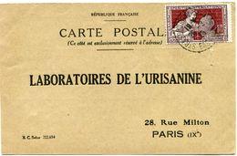 FRANCE CARTE POSTALE BON POUR UN FLACON ECHANTILLON D'URISANINE DEPART STRASBOURG 26-2-25 POUR LA FRANCE - Storia Postale