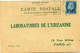 FRANCE CARTE POSTALE BON POUR UN FLACON ECHANTILLON D'URISANINE DEPART CERET 10-3-27 POUR LA FRANCE - Storia Postale