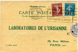 FRANCE CARTE POSTALE BON POUR UN FLACON ECHANTILLON D'URISANINE DEPART BORDEAUX 2 V 1927 POUR LA FRANCE - Storia Postale