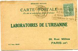 FRANCE CARTE POSTALE BON POUR UN FLACON ECHANTILLON D'URISANINE DEPART BORDEAUX 8 X 1926 POUR LA FRANCE - Storia Postale
