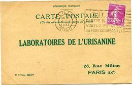 FRANCE CARTE POSTALE BON POUR UN FLACON ECHANTILLON D'URISANINE DEPART LILLE 4 I 1927 POUR LA FRANCE - Storia Postale