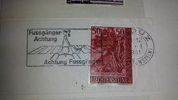 FUSSGANGER ACHTUNG Dog Car Cars Liechtenstein Vaduz 1961 Cancel Cancellation - Incidenti E Sicurezza Stradale