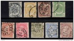 BELGIUM 1893 9 Values Used - 1893-1900 Thin Beard