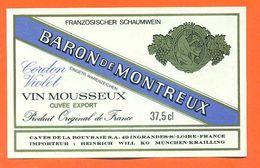 étiquette Vin Mousseux Baron De Montreux Cordon Violet Caves De La Bouvraie à Ingrandes Sur Loire - 37,5 Cl - Etiquettes