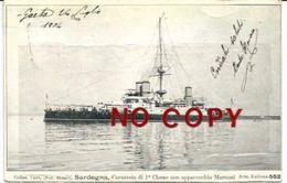 Corazzata Di 1a Classe Sardegna Con Apparecchio Marconi. Gaeta 25.7.1904. - Guerra