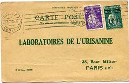 PORTUGAL CARTE POSTALE BON POUR UN FLACON ECHANTILLON D'URISANINE DEPART LISBOA 30-3-22 POUR LA FRANCE - 1910 - ... Repubblica