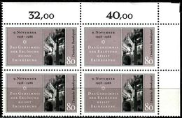 A12-01-4) BRD - 4x Michel 1389 ECKE REO - ** Postfrisch (B) - 80Pf   Reichskristallnacht - BRD
