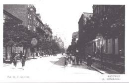 KATOWICE Ul. Kosciuszki Street Life 1925 Three Colour Franking And Oval  Handstamop - Polen