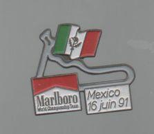 PINS PIN'S AUTO AUTOMOBILE COURSES RALLYE F1 MEXICO 16 06 1991 CIGARETTES MARLBORO DRAPEAU - Car Racing - F1