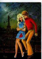 75 Carte Brodee, Couple De Jeunes Gens, Tour Eiffel, Illustrateur Lupe - Tour Eiffel