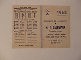 Calendrier De La Pharmacie De La Régence M.T. Galosiaux Pharmacien 1, Avenue Amiral-Courbet à Juan-les-Pins (06). - Calendars