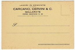 LAVORI IN CEMENTO - CARCANO, CERVINO & C. GALLARATE - CARTOLINA POSTALE INTESTATA ANNI '40 - Vedi Retro - Commercio