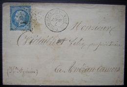 1867 Montaigut-de-Quercy (Tarn Et Garonne) GC 2423 Lettre Pour Les Hautes Pyrénées Nombreux Cachets à L'arrière - Postmark Collection (Covers)