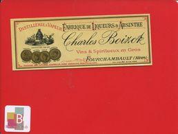 Rare Très Ancienne étiquette Absinthe Charles Boizot Fabrique De Liqueur Fourchambault Nièvre Ruche MIEL 1891 Lith Paly - Autres