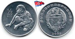 Corée Du Nord - ½  Chon 2002 (UNC - Singe) - Corée Du Nord