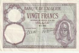 Billet De 20 Francs Algérie Du 22 01  1942 Billet Craquant D'origine Pas De Trous, Simplement Les Plis Visible - Algeria