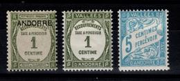 Andorre Lot De 3 Timbres Taxe N* Cote 14 Eur - Neufs
