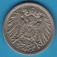 DEUTSCHES REICH 5 PFENNIG: 1905 A Wilhelm II KM# 11 - [ 2] 1871-1918 : German Empire