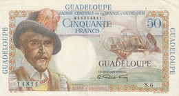 Billet De 50 Francs De Guadeloupe Belain D'esnambuc Un Pli Central Et En Haut A Droite - Billets