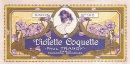 Etiquette Parfum Savon Violette Coquette Paul Tranoy Paris Tourcoing Bruxelles .. N°912 - Labels
