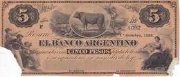 BILLETE DE ARGENTINA DE 5 PESOS DEL AÑO 1866 CON ROTURA  (BANKNOTE) MUY RARO - Argentina