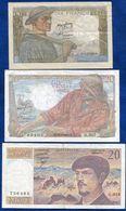 LOT 3 BILLETS FRANCE 10 FRS 1949- 20FRS 1949 - 20FRS 1987 - Francia