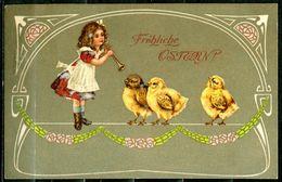 """CPA Color Anlaßkarte German Empires,DR 1900 """"Fröhliche OSTERN,kleines Mädchen Und Kücken""""1 AK,benutzt - Easter"""