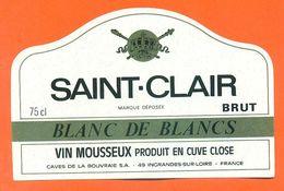 étiquette Vin Mousseux Saint Clair Brut Blanc De Blancs Par Caves De La Bouvraie à Ingrandes Sur Loir - 75 Cl - Autres