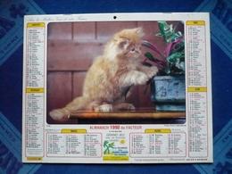 CALENDRIER - Almanach  1990 Du Facteur  - Chiens Cockers Et Chat  - Dpt 66 - Big : 1981-90