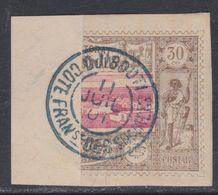 Côte Des Somalis  N° 13a D O  Timbre Coupé Parte Droite : 30 C. Brun-gris Et Rose Belle  Oblitération Fragment SinonTB - Côte Française Des Somalis (1894-1967)