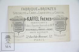 Old Visiting Card Kaffel Freres Fabricants, Paris - Fabrique De Bronze - Tarjetas De Visita