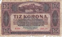 BILLETE DE HUNGRIA DE 10 KORONA DEL AÑO 1920 (BANKNOTE) - Hungría