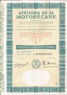 Action ATELIERS De La MOTOBECANE (1) - PANTIN (Seine-Saint-Denis) - 50 Francs  - Présence De 13 Coupons - Mobylette - Transports