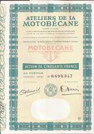 Action ATELIERS De La MOTOBECANE (2) - PANTIN (Seine-Saint-Denis) - 50 Francs  - Présence De 13 Coupons - Mobylette - Transports