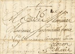 Sobre 1764. GANDIA A OLORON (FRANCIA). Marca VALENCIA (poco Legible), En Tinta De Escribir (P.E.1) Edición 2004. BONITA  - Spain