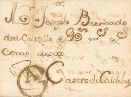 Sobre (1728ca). Dirigida A CASTRO CALDELAS. Marca Gª, Que Atribuimos A Orense (P.E.1) Edición 2004 (podría Tratarse De L - Spain
