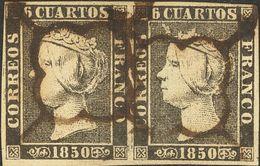 º 1(2). 6 Cuartos Negro, Pareja. Matasello ARAÑA, En Tinta De Escribir. MAGNIFICA Y RARA. (Edifil 2014: 135€) - Spain