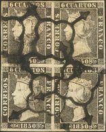 º 1(4). 6 Cuartos Negro, Bloque De Cuatro. MAGNIFICO Y RARO. (Edifil 2014: 1130€) - Spain