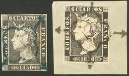 º 1A(2). 6 Cuartos Negro, Dos Sellos (uno Sobre Fragmento), Inutilizados Con Matasello ARAÑA, En Azul Y En Negro-azul. M - Spain