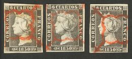 º 1A. Conjunto De Tres Sellos Del 6 Cuartos Negro, Inutilizados Con El Matasello Araña, En Rojo. MAGNIFICO CONJUNTO. (Ed - Spain