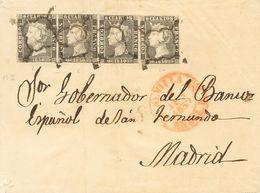 Sobre 1A(4). 1850. 6 Cuartos Negro, Pareja Y Dos Sellos (uno Doblez De Archivo Sin Importancia). SEVILLA A MADRID. MAGNI - Spain